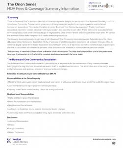 B1 Orion HOA Fees & Coverage Summary Info